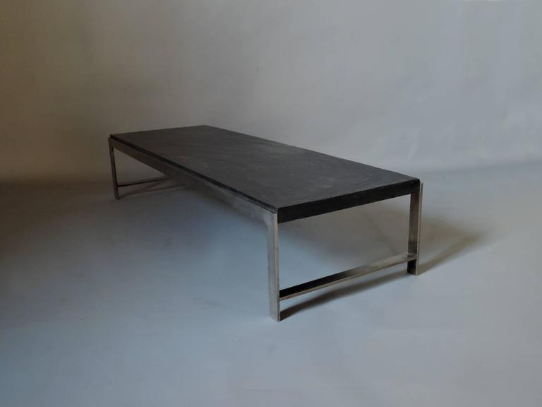 Mid-Century Modern A Large Fine French 1970s Metal and Slate Coffee Table For Sale