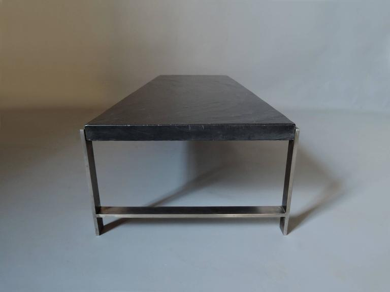 Stainless Steel A Large Fine French 1970s Metal and Slate Coffee Table For Sale