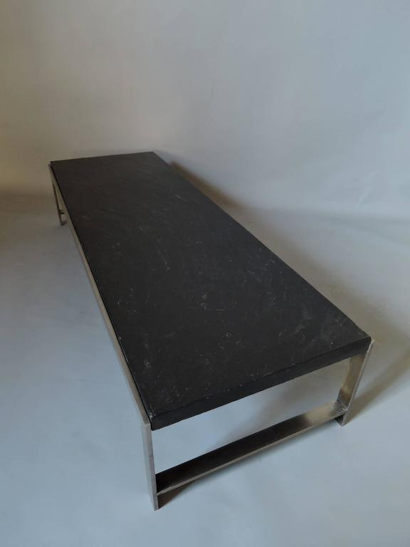 A Large Fine French 1970s Metal and Slate Coffee Table In Good Condition For Sale In Long Island City, NY