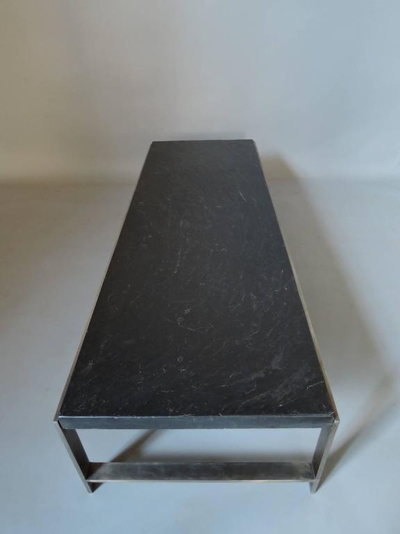 Late 20th Century A Large Fine French 1970s Metal and Slate Coffee Table For Sale