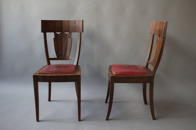 Rare French Art Deco Walnut Dining Room Set By Jean