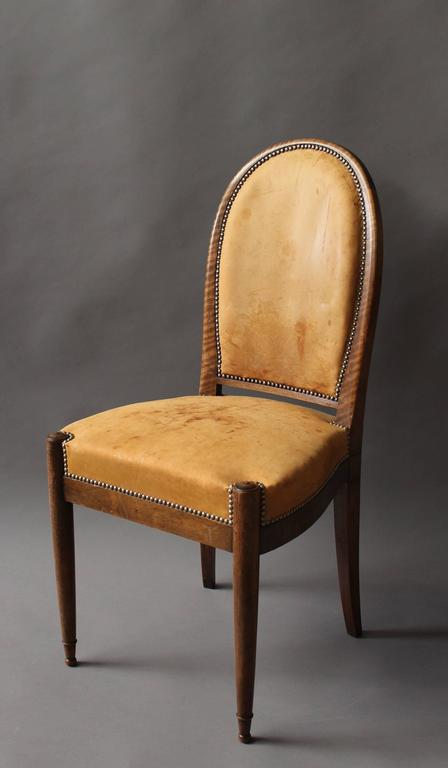 Set of Six Fine French Art Deco Walnut Dining / Side Chairs In Good Condition For Sale In Long Island City, NY