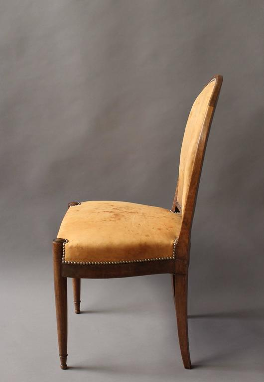 Early 20th Century Set of Six Fine French Art Deco Walnut Dining / Side Chairs For Sale