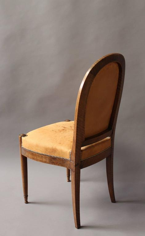 Set of Six Fine French Art Deco Walnut Dining / Side Chairs For Sale 1
