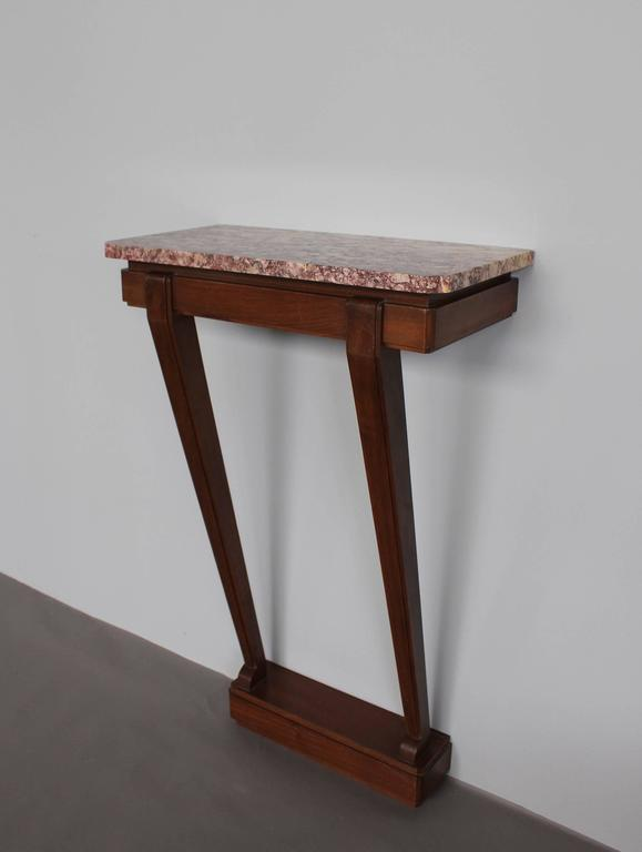A Fine French Art Deco Mahogany Console with a Marble Top In Good Condition For Sale In Long Island City, NY