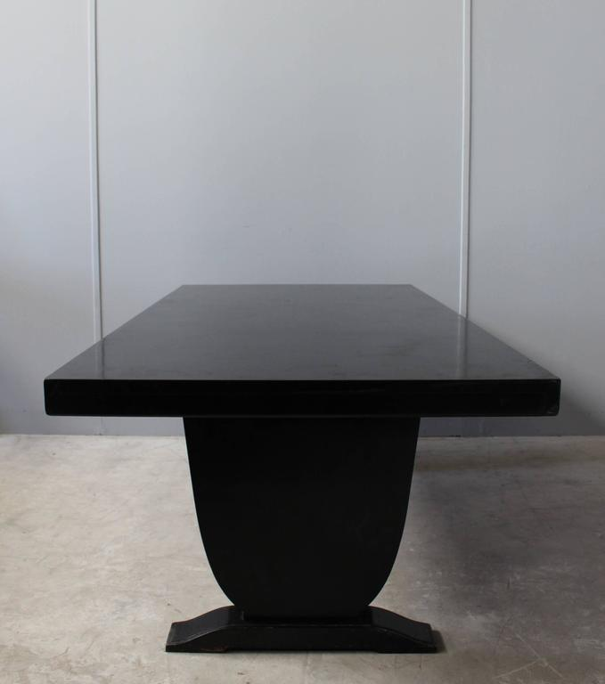 A Fine French Art Deco Black Lacquered Dining Table 1