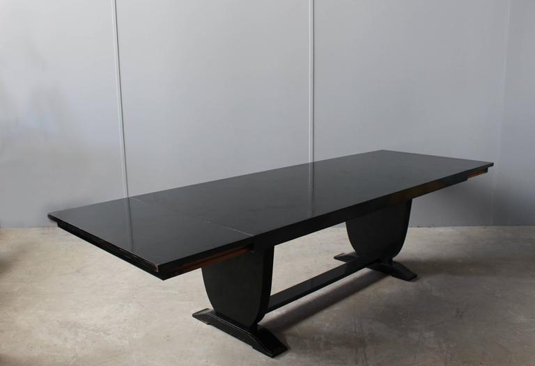 Wood A Fine French Art Deco Black Lacquered Dining Table