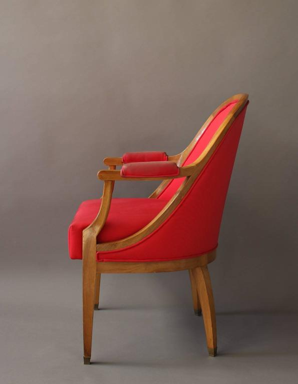 A Fine French Art Deco Walnut Gondola Armchair with Brass Sabots In Good Condition For Sale In Long Island City, NY