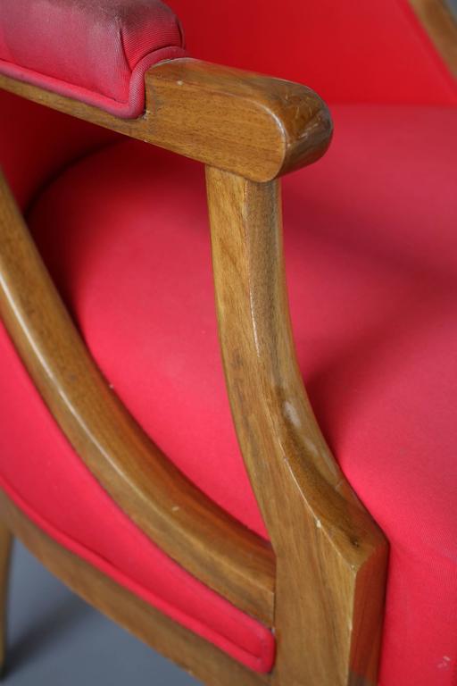 A Fine French Art Deco Walnut Gondola Armchair with Brass Sabots For Sale 4