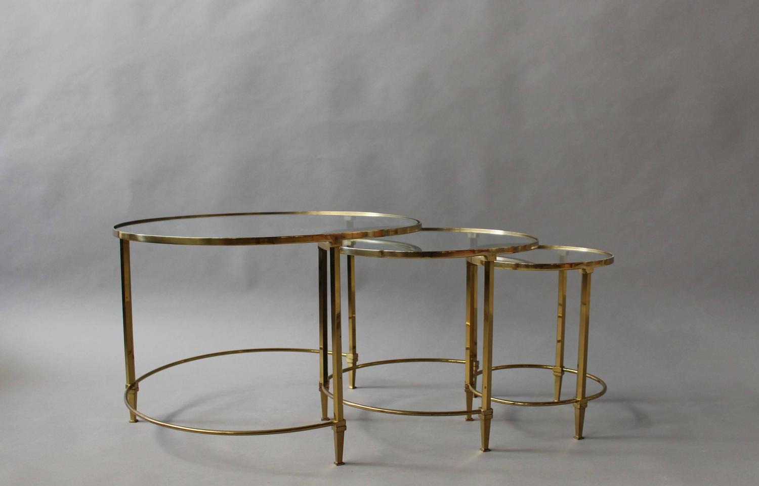 Fine french mid century solid brass and glass tops nesting for Glass top nesting tables