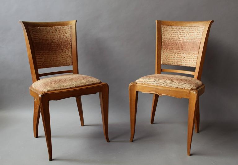A set of fine French Art Deco cherry dining/side chairs.