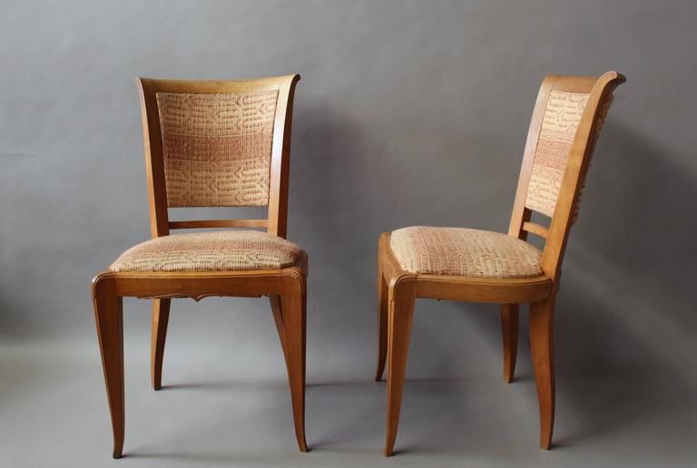 Set of 8 Fine French Art Deco Cherry Dining Chairs In Good Condition For Sale In Long Island City, NY