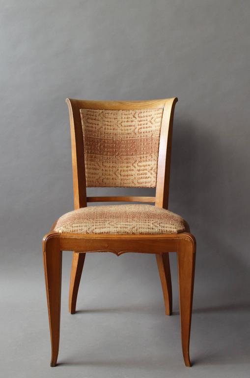 Mid-20th Century Set of 8 Fine French Art Deco Cherry Dining Chairs For Sale