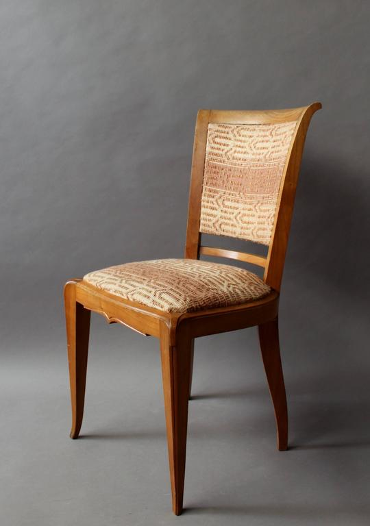 Set of 8 Fine French Art Deco Cherry Dining Chairs For Sale 1