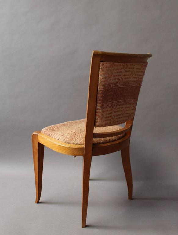 Set of 8 Fine French Art Deco Cherry Dining Chairs For Sale 3