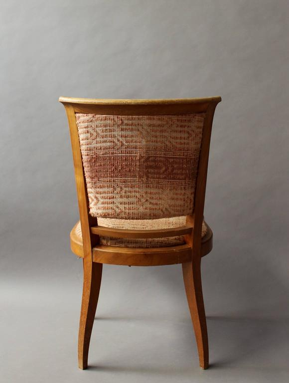 Set of 8 Fine French Art Deco Cherry Dining Chairs For Sale 4