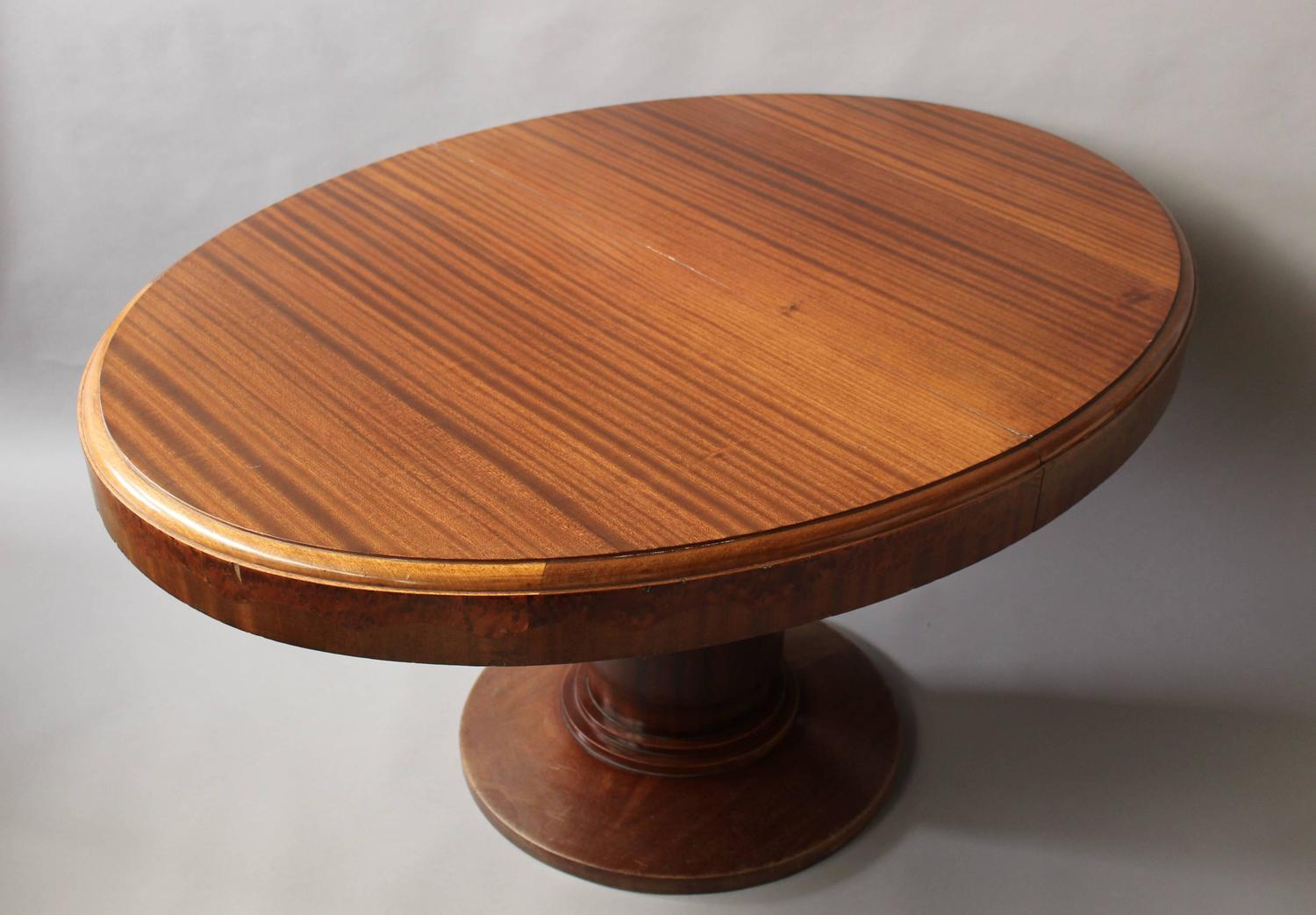 Fine French Art Deco Mahogany and Burl Elm Pedestal Oval  : 1397Tablevague11z from www.1stdibs.com size 1500 x 1043 jpeg 109kB