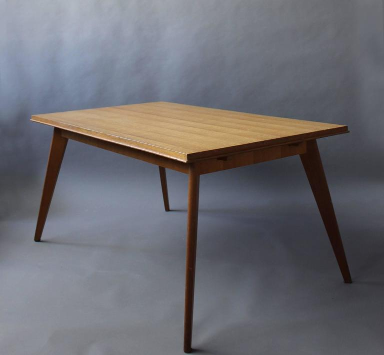 A Fine 1950s Compass Oak Table In Good Condition For Sale In Long Island City, NY
