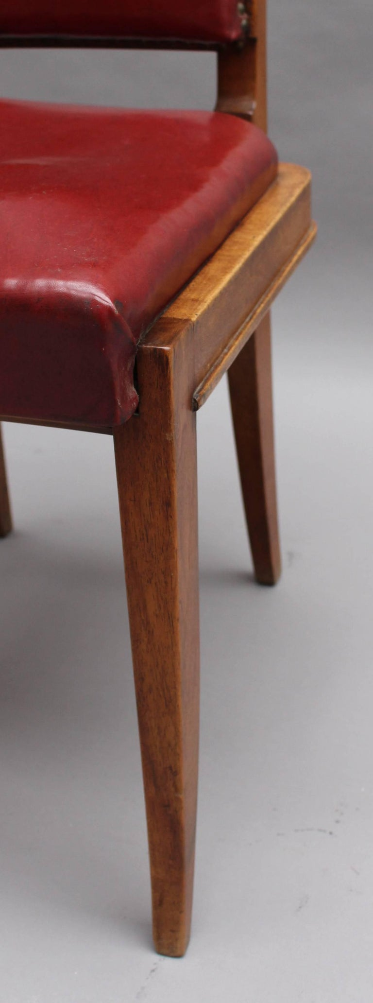 Set of Six Fine French Art Deco Walnut Dining Chairs by Maxime Old For Sale 3