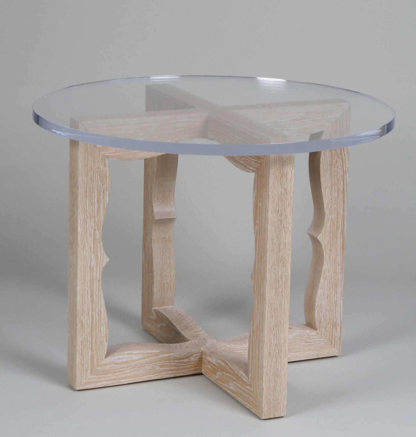 Side Table In Limed Oak With Thick Lucite Top. Made To Order . Full resolution  photo, nominally Width 1428 Height 1500 pixels, photo with #74604E.