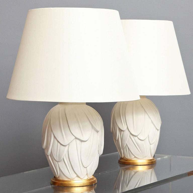 """The palm leaf lamp. Cast plaster lamp with tropical leaf decoration, mounted on a gilded wood base. Made to order expressly for Liz O'Brien. Lead time: 6-8 weeks. Dimensions: 11.75"""" H base / 23"""" H overall x 7.5"""" D."""