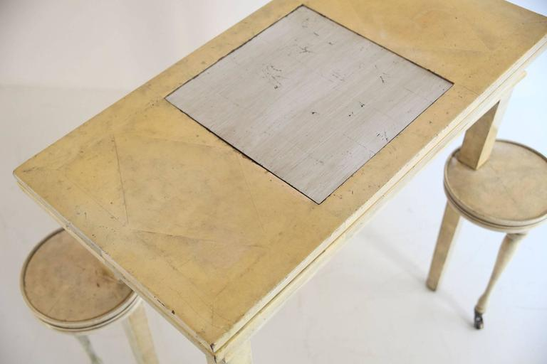 American Folding Parchment Game Table For Sale