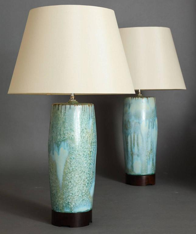 Large Pale Blue Ceramic Lamps By Scds For Sale At 1stdibs