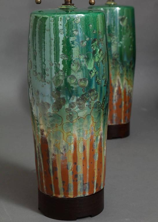 American Large Green Ceramic Lamps by SCDS For Sale