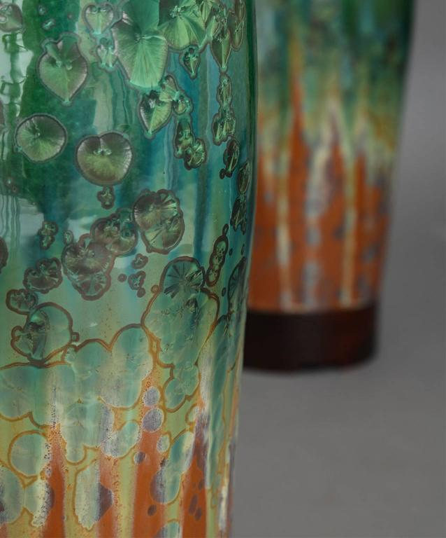 Glazed Large Green Ceramic Lamps by SCDS For Sale