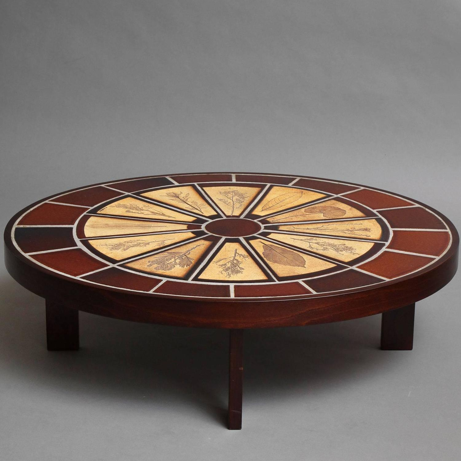 Roger Capron Coffee Table With Ceramic Tiles For Sale At