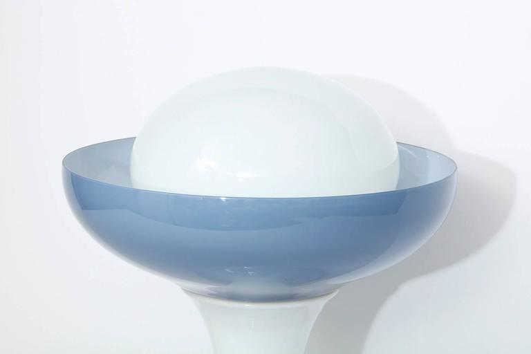 Large-scale table lamp by Alessandro Pianon for Vetreria Vistosi.  Rare table lamp comprised of opaque white and blue/gray glass elements. Pedestal form with large bowl and covered dome top. Two internal sockets, one standard Edison size above and