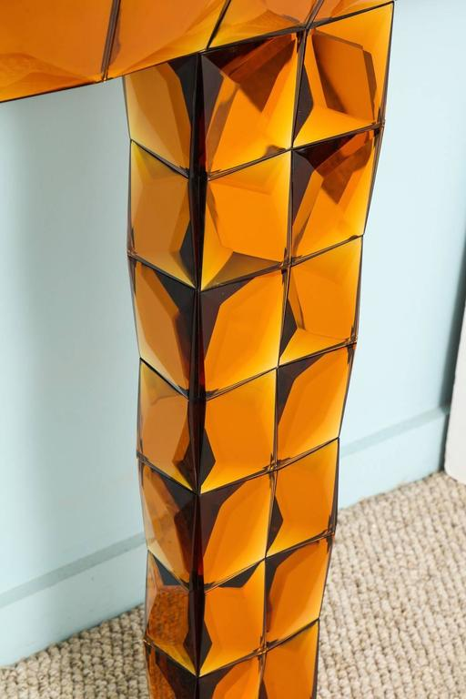 """""""Stello Oro"""" wall-mounted console table by Roberto Giulio Rida. One from a unique pair, comprised of hand-carved, copper-colored glass tiles, polished and book-matched. These consoles feature a textured surface pattern that is visually"""