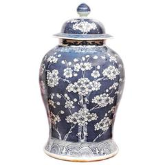 Qing Period Chinese Blue and White Porcelain Temple Jar