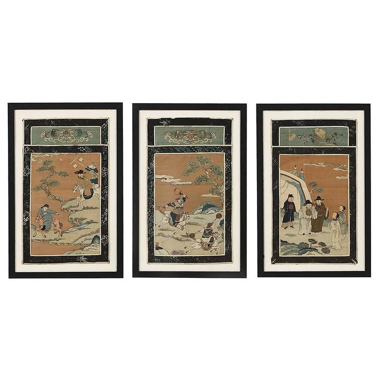 Set of Three Chinese Hand-Painted Silk Collage Panels