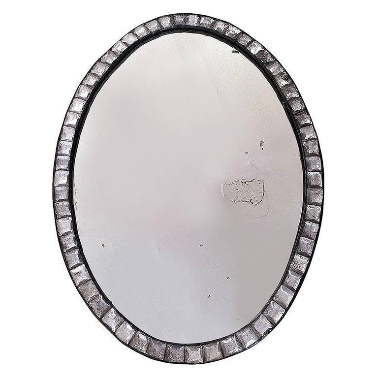 18th Century Irish Clear Cut Glass Oval Mirror For Sale