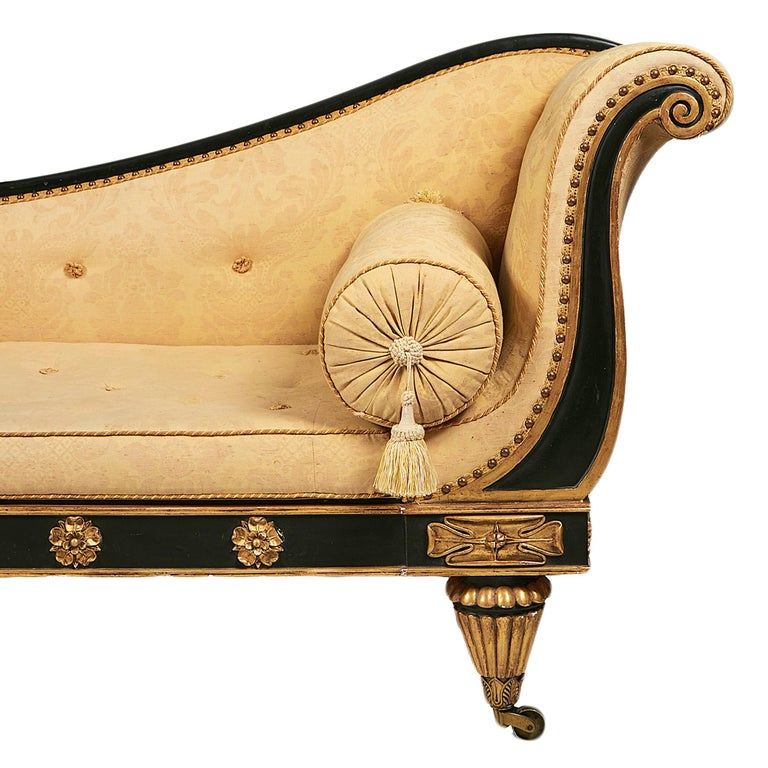 English Early 19th Century Empire Ebonized and Gilt Sofa in the Manner of Thomas Hope For Sale
