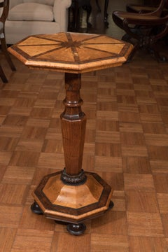 Octagonal Side Table Inlaid with Yew Wood and Burl Maple