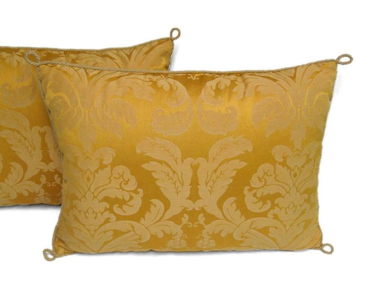 Pair Of Handmade Yellow Damask Pillows With A Floral