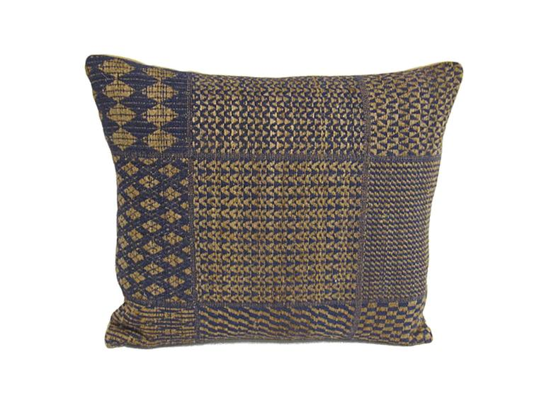 Set of five pillows made from vintage handwoven blue and natural linen with geometric patterns. With silk back and 100% goose down filling.
