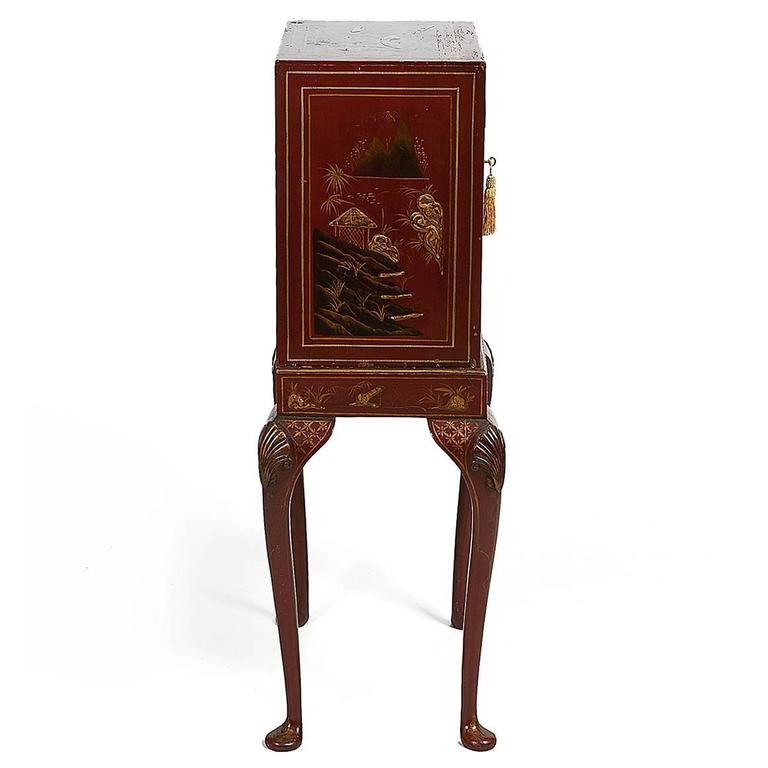 Early Victorian 19th Century Chinoiserie Cabinet on Stand, with Fitted Interior For Sale