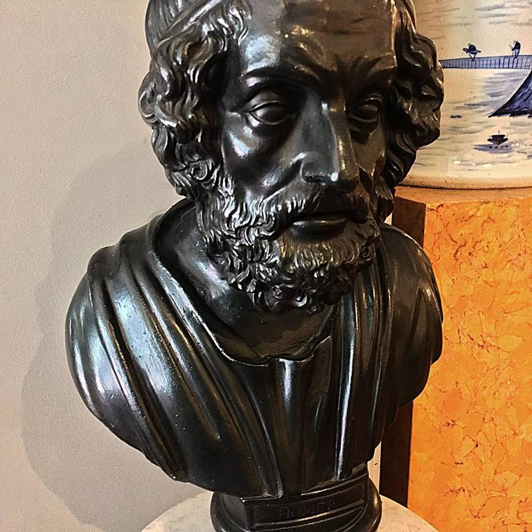George IV Early 19th Century Painted Plaster Bust of Homer For Sale