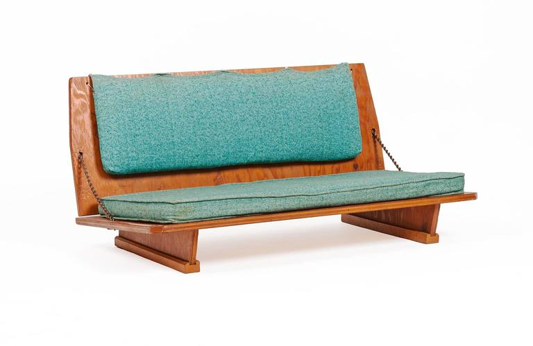 Mid-Century Modern Frank Lloyd Wright Benches and Table from Wright's 1951 Unitarian Church For Sale