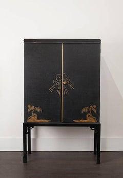 Rare Swedish Cabinet with Asian motifs ca. 1930