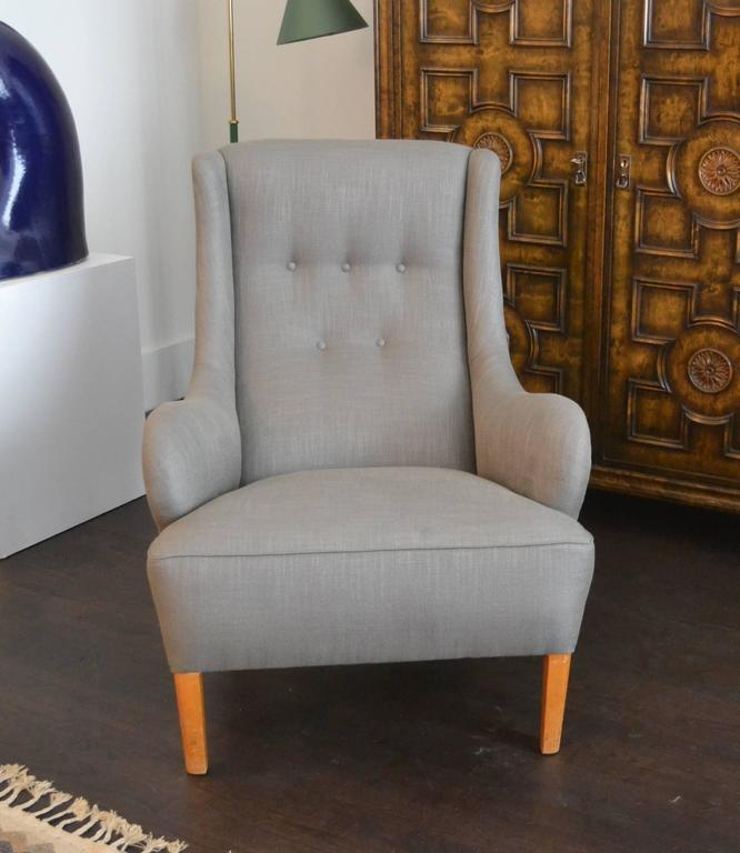 Rare Single Lounge Chair by Carl Malmsten, Sweden, 1950s In Excellent Condition For Sale In New York, NY