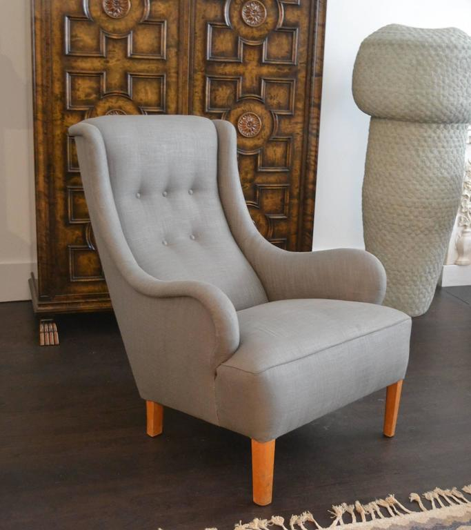Mid-20th Century Rare Single Lounge Chair by Carl Malmsten, Sweden, 1950s For Sale