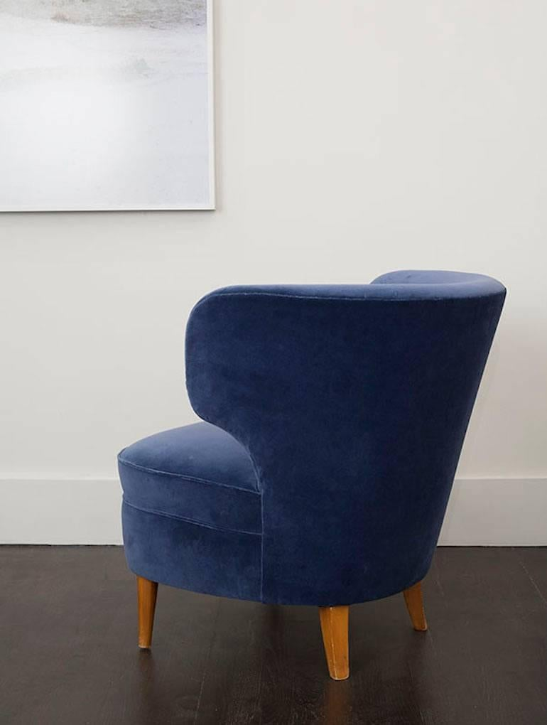 pair of velvet blue chairs by sven staaf sweden circa 2