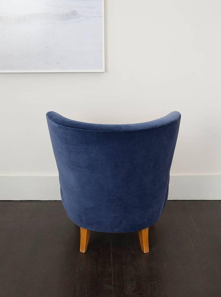 pair of velvet blue chairs by sven staaf sweden circa 3