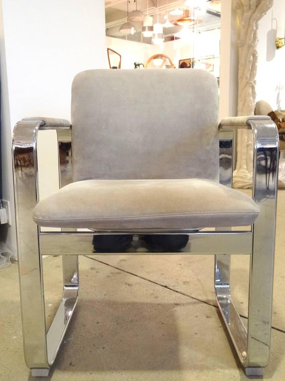 Steel Pair of Italian Armchairs For Sale