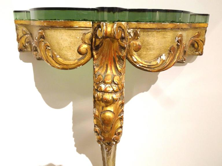 19th Century Italian Giltwood and Painted Console For Sale