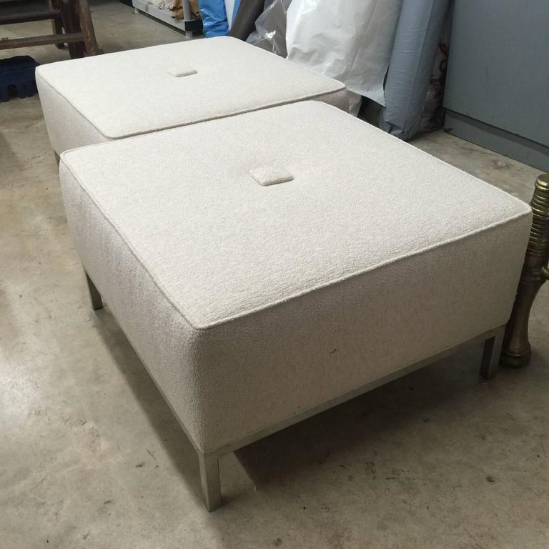 ottomans with chrome legs and frame. Simple beautiful Mid-Century design. The design is much in the manner of Knoll. Only one stool available.